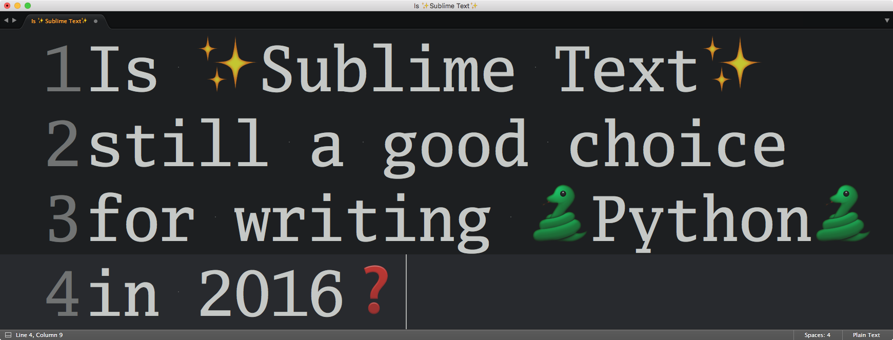 Sublime Text for Python development — My 2016 review