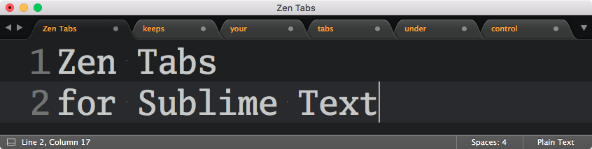 Sublime Text plugin review: Zen Tabs – dbader org